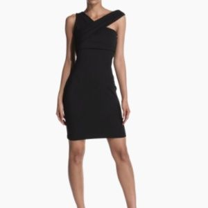 Black Halston Heritage Asymmetrical Dress